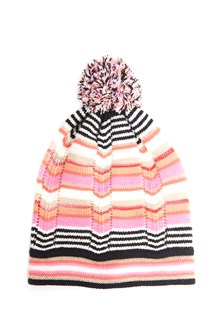 MISSONI KIDS Wool multicolored hat with pom pom on top