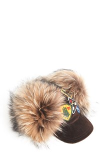DSQUARED2 Cotton and fur mourmaski baseball cap