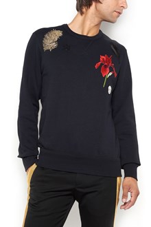 ALEXANDER MCQUEEN Flower and feathers embroidered sweatshirt