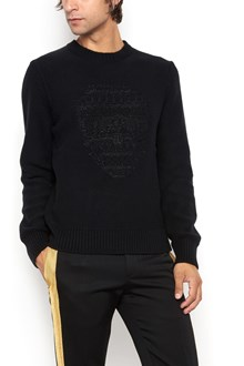 ALEXANDER MCQUEEN skull embroidered sweater with glitter all over