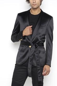 BALMAIN silk jacket with gold button and waist belt