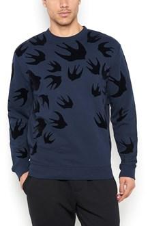 McQ ALEXANDER McQUEEN all over swallow velvet patches sweatshirt