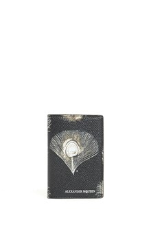 ALEXANDER MCQUEEN All over feather printed calf leather wallet