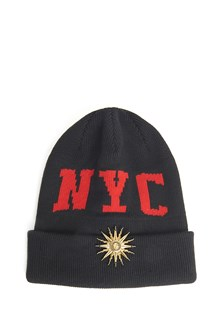 FAUSTO PUGLISI wool beanie with  NYC embroidery and sun logo jewel