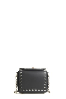 ALEXANDER MCQUEEN calf leather clutch with studs and detachable strap