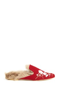 GIA COUTURE Suede slippers with inside fur ,embroidery and velvet bow