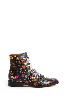 GIVENCHY 'Elegant' calf leather ankle boots with studs and pansies print