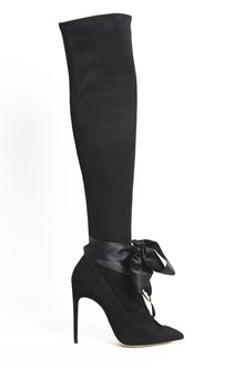 OLGANA PARIS 'Amiral' suede and satin ankle boots