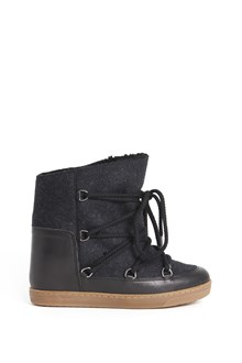 ISABEL MARANT 'Nowles' wool checked ankle boots with inside fur