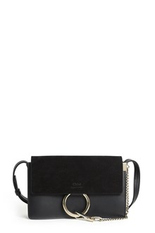 CHLOÉ 'Faye' small leather and suede shoulder bag with silver insert and chain