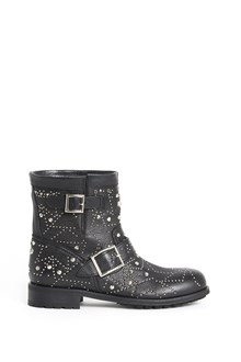 JIMMY CHOO leather biker ankle boots with star studs