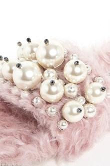 MIU MIU eco shearling animalier slippers with pearls
