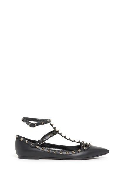 VALENTINO GARAVANI 'Rockstud' calf leather flat shoes