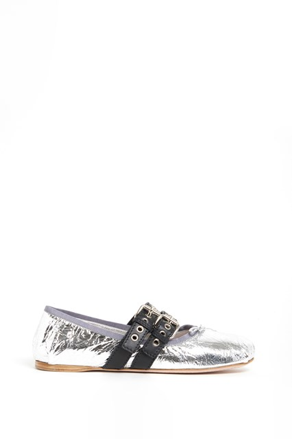 MIU MIU Laminate naplak flats with buckles