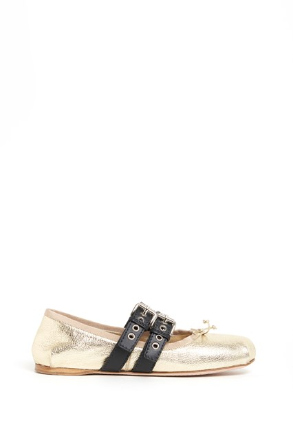 MIU MIU leather  flat shoes  with buckles