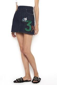 MIU MIU denim shorts with capsule patches and jewels