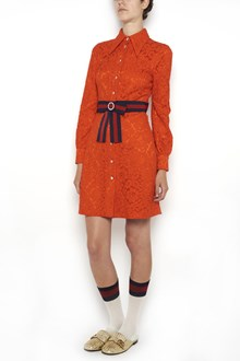 GUCCI lace dress with buttons and web waist belt with bow