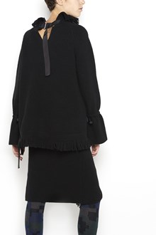 SACAI Long sleeves sweater with fringes on high roundneck and low hem