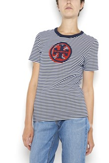 TORY BURCH 'Bria' 1/2 sleeves striped t-shirt  with logo print