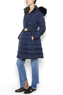 TORY BURCH 'Petra' long padded jacket with waist belt  and hood with fox fur