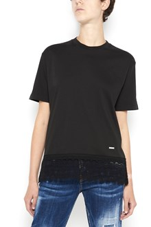 DSQUARED2 cotton 1/2 sleeves t-shirt with lace details on low  hem