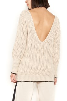 NUDE :Over round neck long sleeves sweater with  glitter all over