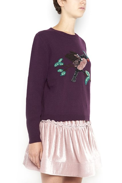 ALBERTA FERRETTI crewneck sweater with bird embroidery