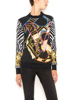 VERSACE multicoloured all over printed crew neck sweater