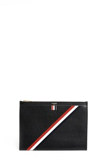 THOM BROWNE Leather clutch with logo banner