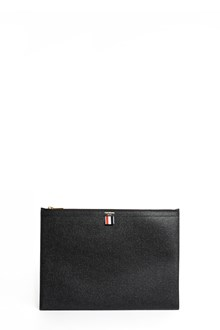 THOM BROWNE Leather clutch with zipper