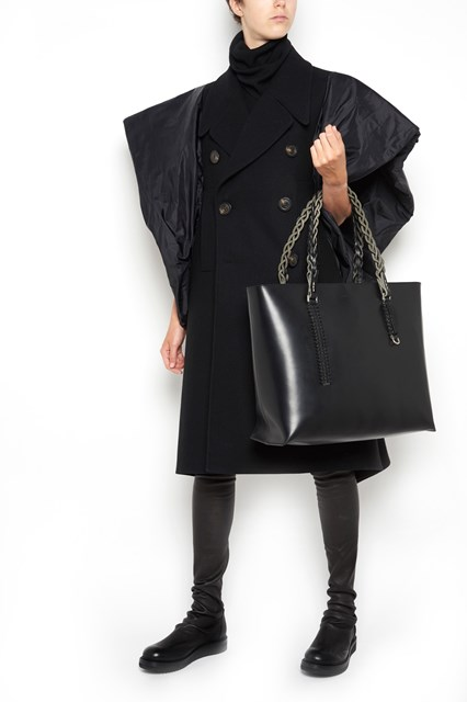 RICK OWENS Leather shopping bag with braided leather handle and clutch inside