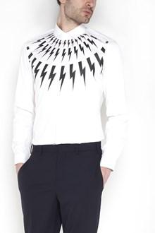 NEIL BARRETT Cotton popeline strech 'Multi Flash' button up shirt
