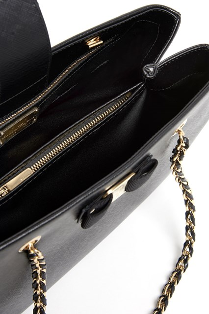 SALVATORE FERRAGAMO Leather medium 'Melike' bag with gold and leather handle