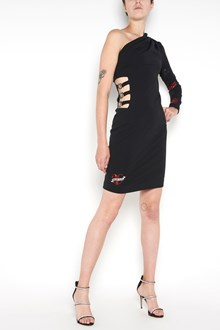 PHILIPP PLEIN one shoulder dress with Swarovski hearts on shoulder and cut-out on side