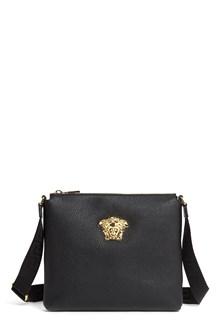 VERSACE Leather messenger bag with gold 'Medusa' logo
