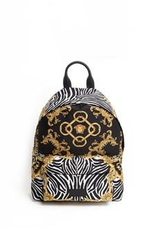 VERSACE Nylon 'Signature' printed Backpack with front compartment
