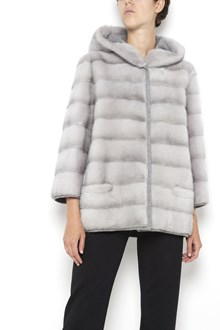 SIMONETTA RAVIZZA Doubleface hooded 'Ambra' mink fur coat with wool inside