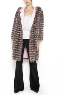 SIMONETTA RAVIZZA Doubleface hooded 'Cloti' fox fur coat with wool inside