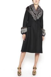 PRADA long wool  coat with fur on v neck and cuffs with buttons closure