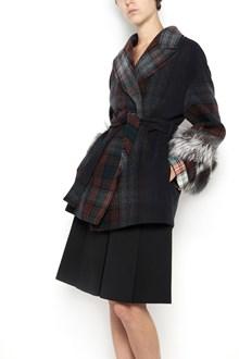 PRADA wool tartan coat with waist band and fox fur on sleeves