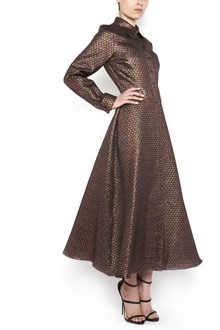 ULTRACHIC Long buttoned lurex dress with wide pleated skirt and all over glittered star print