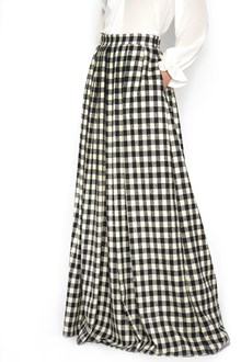 ULTRACHIC wool long damier skirt