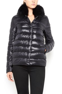 HERNO short padded jacket  with buttons and detachable fur on collar