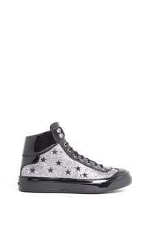JIMMY CHOO 'Argyle' patent leather stars studded and glittered sneaker with swarovski