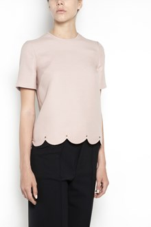 VALENTINO 'Scallop' short sleeves studded top