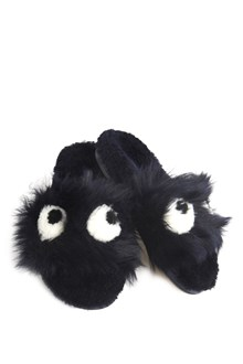 ANYA HINDMARCH fur slippers with eyes in front