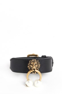 GUCCI Leather adjustable bracelet with brass lion and pearls