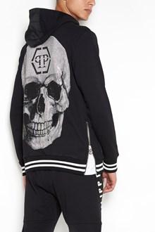 PHILIPP PLEIN 'Work' printed zipped hooded sweatshirt with swarovski