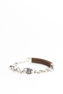 GIACOMOBURRONI Silver bracelet with leather insert