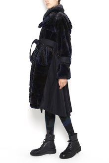 SACAI Long wide fur and  polyester coat with waist belt